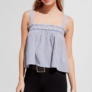 urban outfitters stripes smocked tank top